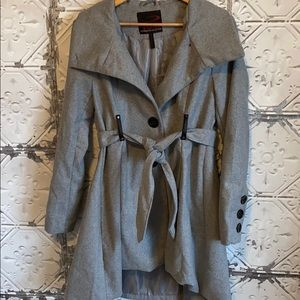 Gray single breasted pea coat